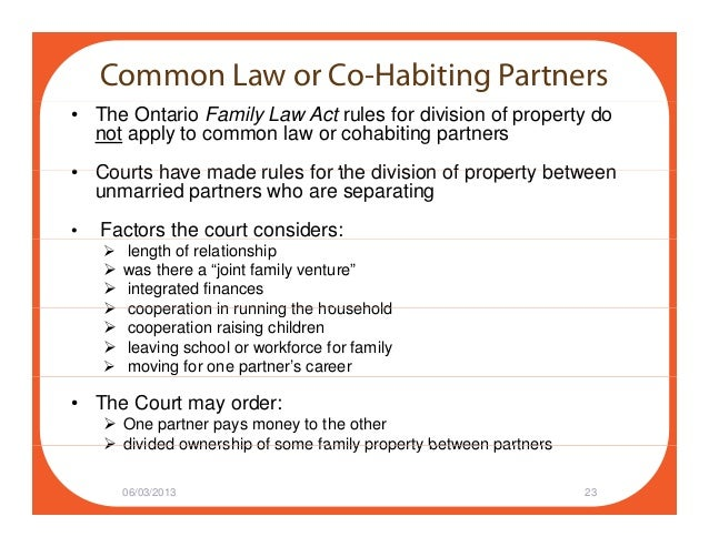 Property Rights And Obligations Of Married And CoHabiting Partners