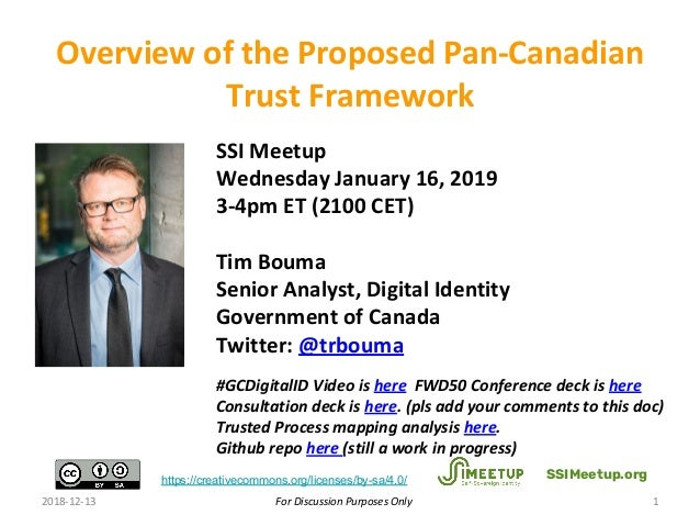 For Discussion Purposes Only SSI Meetup Wednesday January 16, 2019 3-4pm ET (2100 CET) Tim Bouma Senior Analyst, Digital I...