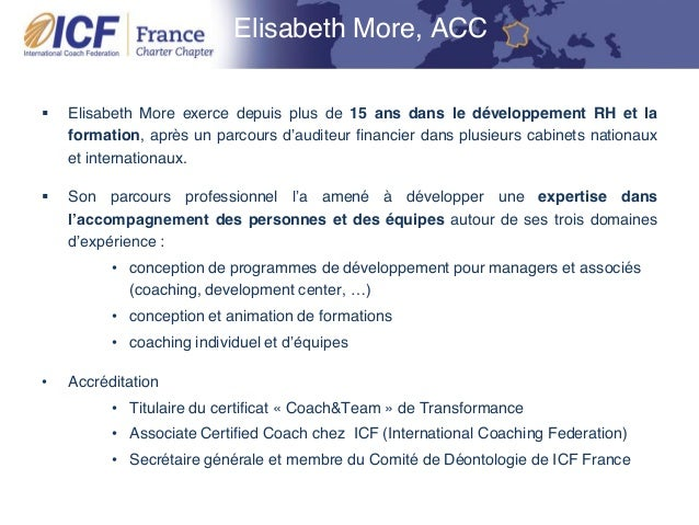 """ICF Synergie : """"La Déontologie ICF"""" de Joceline Hamon et Elisabeth More - SLIDEs Slide 3"""