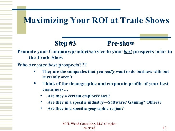 How to maximize your trade show roi pre show rights reserved 10 maximizing your roi at trade shows stopboris Gallery