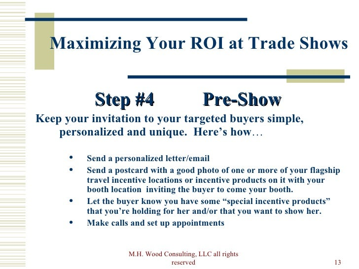 How to maximize your trade show roi pre show rights reserved 13 stopboris Image collections