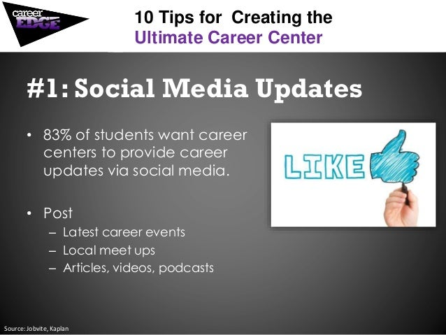 #1: Social Media Updates • 83% of students want career centers to provide career updates via social media. • Post – Latest...