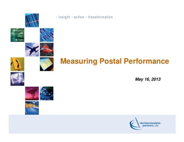 Measuring Postal PerformanceMay 16, 2013