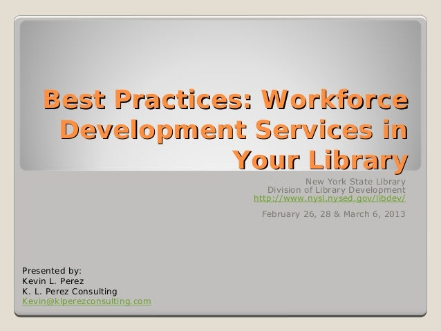 Best Practices: Workforce     Development Services in                 Your Library                                        ...