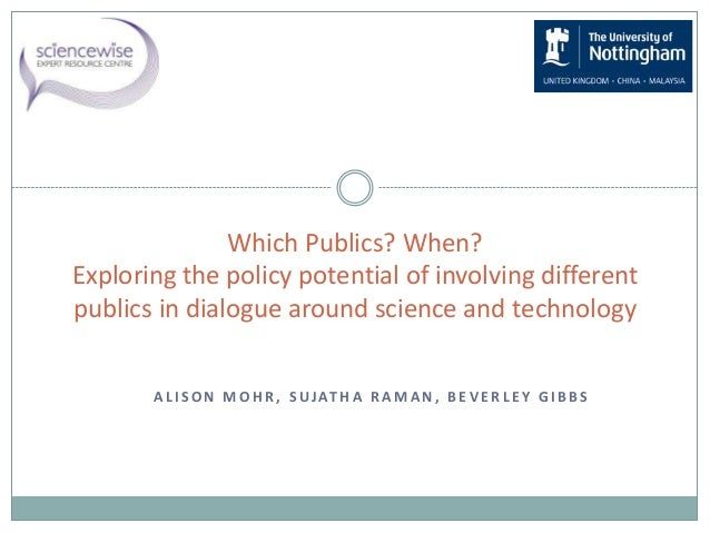 A L I S O N M O H R , S UJAT H A R A M A N , B E V E R L E Y G I B B S Which Publics? When? Exploring the policy potential...