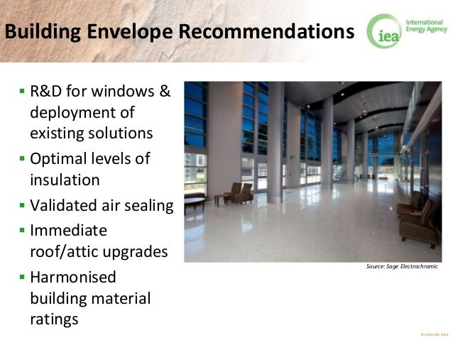 © OECD/IEA 2013 Building Envelope Recommendations  R&D for windows & deployment of existing solutions  Optimal levels of...