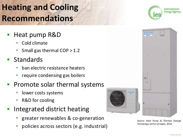 © OECD/IEA 2013 Heating and Cooling Recommendations  Heat pump R&D • Cold climate • Small gas thermal COP > 1.2  Standar...