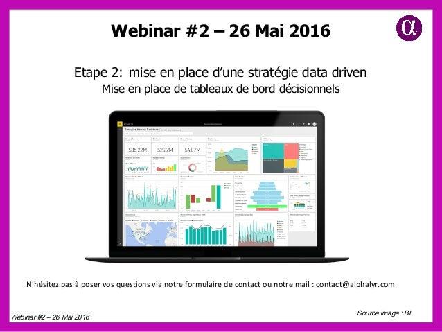 Webinar #2 – 26 Mai 2016 Etape 2: mise en place d'une stratégie data driven Mise en place de tableaux de bord décisionnels...
