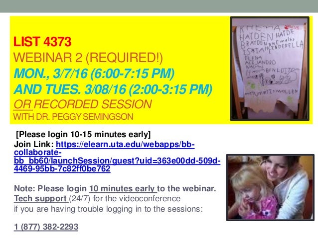 LIST 4373 WEBINAR 2 (REQUIRED!) MON., 3/7/16 (6:00-7:15 PM) AND TUES. 3/08/16 (2:00-3:15 PM) OR RECORDED SESSION WITH DR. ...