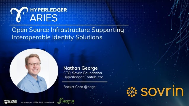 Open Source Infrastructure Supporting Interoperable Identity Solutions Nathan George CTO, Sovrin Foundation Hyperledger Co...