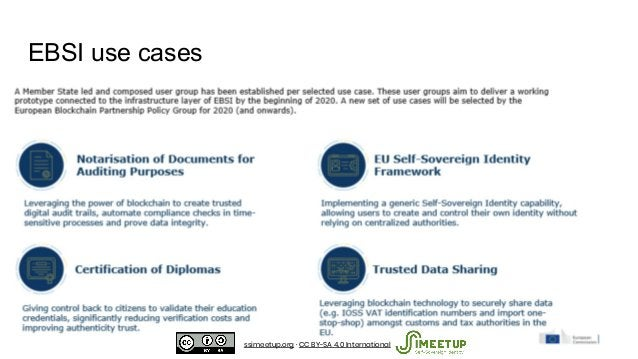 EBSI use cases ssimeetup.org · CC BY-SA 4.0 International
