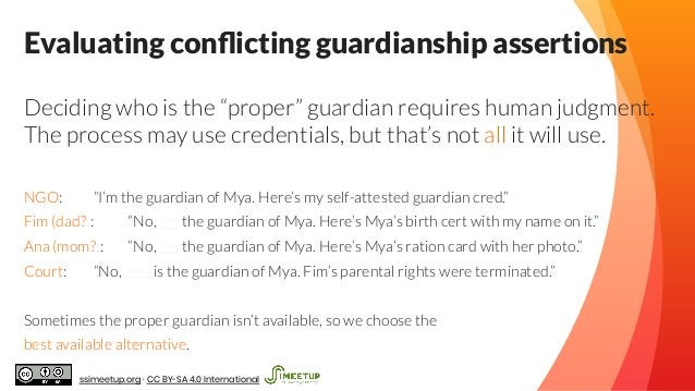 """Evaluating conflicting guardianship assertions Deciding who is the """"proper"""" guardian requires human judgment. The process m..."""