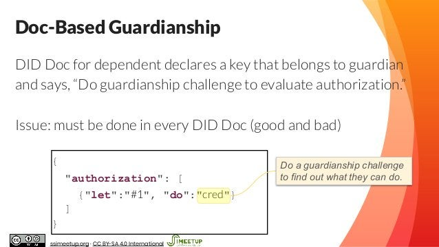 """{ """"authorization"""": [ {""""let"""":""""#1"""", """"do"""":""""cred""""} ] } Doc-Based Guardianship Do a guardianship challenge to find out what the..."""