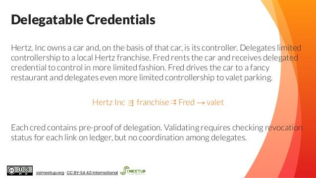 Delegatable Credentials Hertz, Inc owns a car and, on the basis of that car, is its controller. Delegates limited controll...