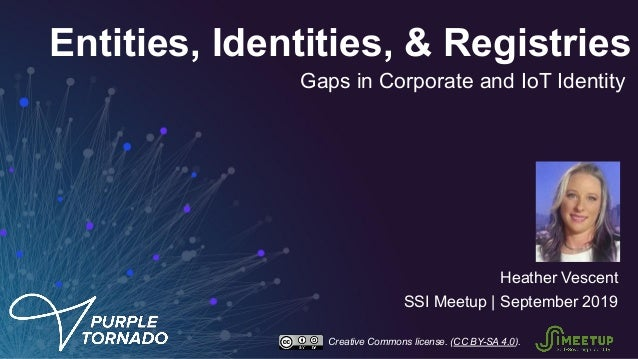 Entities, Identities, & Registries Heather Vescent SSI Meetup | September 2019 Gaps in Corporate and IoT Identity Creative...