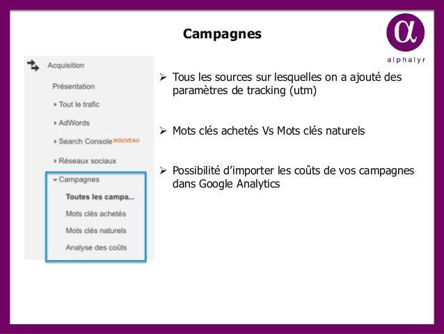 Campagnes  Tous les sources sur lesquelles on a ajouté des paramètres de tracking (utm)  Mots clés achetés Vs Mots clés ...