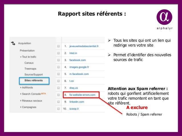 Rapport sites référents :  Tous les sites qui ont un lien qui redirige vers votre site  Permet d'identifier des nouvelle...