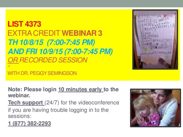 LIST 4373 EXTRACREDIT WEBINAR 3 TH 10/8/15 (7:00-7:45 PM) AND FRI 10/9/15 (7:00-7:45 PM) OR RECORDED SESSION * WITH DR. PE...
