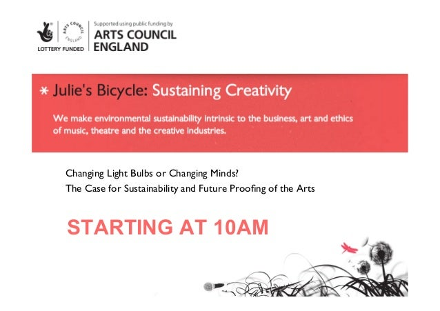 Changing Light Bulbs or Changing Minds? The Case for Sustainability and Future Proofing of the ArtsSTARTING AT 10AM