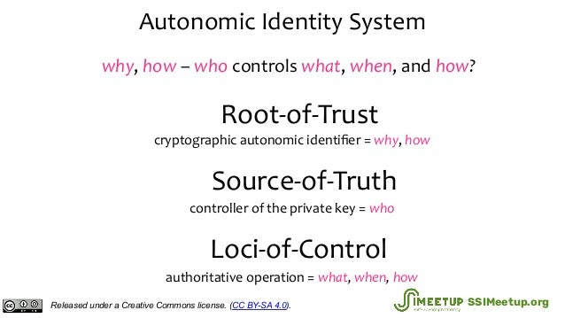 Autonomic Identity System Root-of-Trust Source-of-Truth Loci-of-Control cryptographic autonomic identifier = why, how contr...