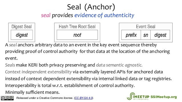 Seal (Anchor) A seal anchors arbitrary data to an event in the key event sequence thereby providing proof of control autho...