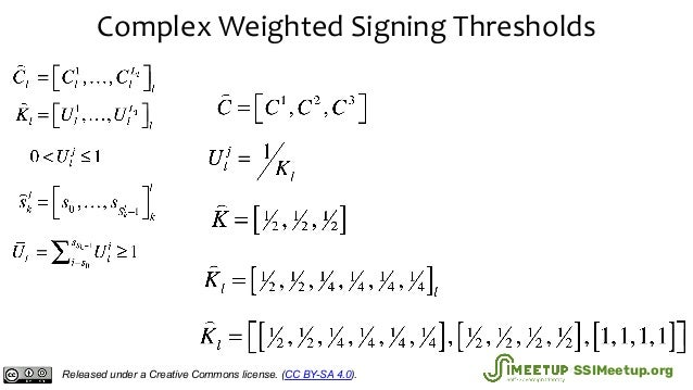Complex Weighted Signing Thresholds Released under a Creative Commons license. (CC BY-SA 4.0). SSIMeetup.org