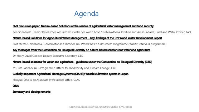 Nature-based solutions for agricultural water management and