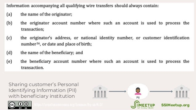 Sharing customer's Personal Identifying Information (PII) with beneficiary institution SSIMeetup.orghttps://creativecommons...