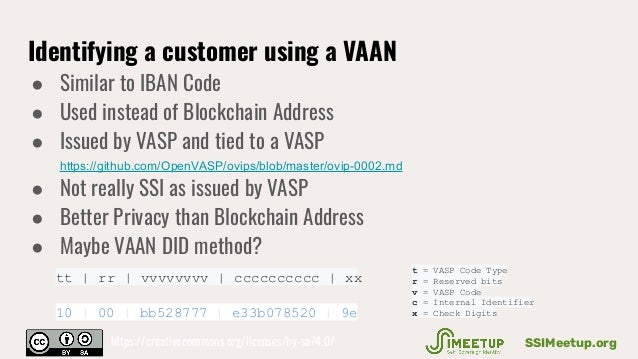 Identifying a customer using a VAAN ● Similar to IBAN Code ● Used instead of Blockchain Address ● Issued by VASP and tied ...