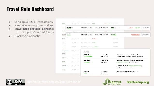 Travel Rule Dashboard ● Send Travel Rule Transactions ● Handle incoming transactions ● Travel Rule protocol agnostic ○ Sup...