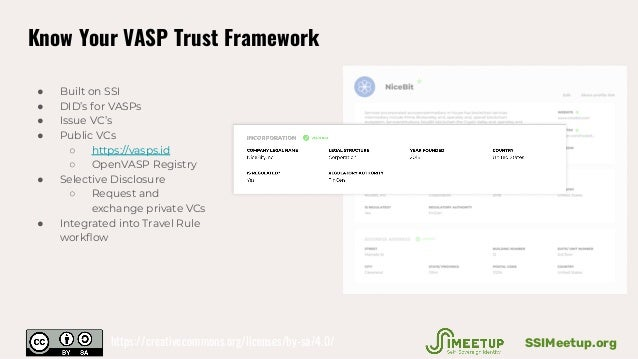Know Your VASP Trust Framework ● Built on SSI ● DID's for VASPs ● Issue VC's ● Public VCs ○ https://vasps.id ○ OpenVASP Re...