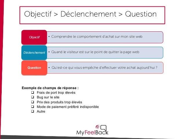 Objectif > Déclenchement > Question • Comprendre le comportement d'achat sur mon site webObjectif • Quand le visiteur est ...