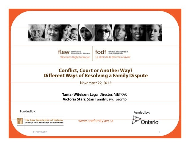Conflict, Court or Another Way? Different Ways of Resolving a Family Dispute November 22 2012November 22, 2012 Tamar Witel...