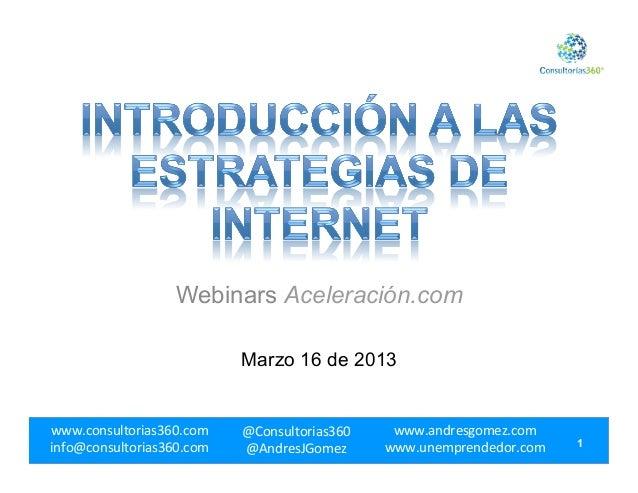 Webinars Aceleración.com                               Marzo 16 de 2013www.consultorias360.com     @Consultorias360   ...