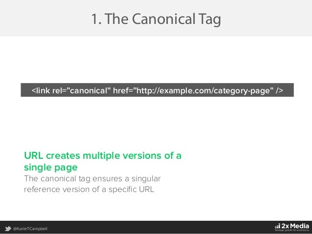 @KunleTCampbell 1. The Canonical Tag URL creates multiple versions of a single page The canonical tag ensures a singular r...