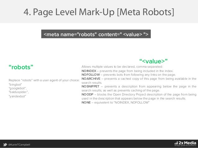"""@KunleTCampbell 4. Page Level Mark-Up [Meta Robots] """"robots"""" Replace """"robots"""" with a user agent of your choice: """"bingbot"""" ..."""
