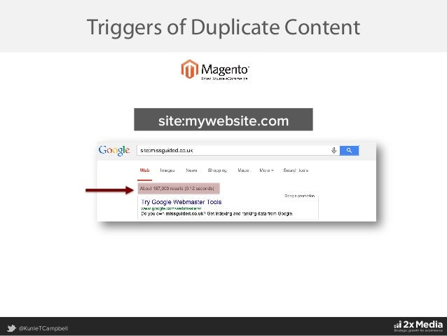 @KunleTCampbell Triggers of Duplicate Content site:mywebsite.com