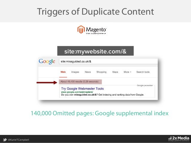 @KunleTCampbell Triggers of Duplicate Content site:mywebsite.com/& 140,000 Omitted  pages: Google supplemental index
