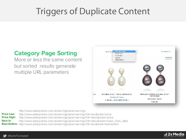 @KunleTCampbell Triggers of Duplicate Content Category Page Sorting More or less the same content but sorted results gener...