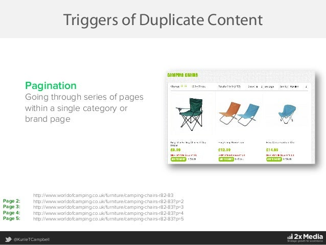 @KunleTCampbell Triggers of Duplicate Content Pagination Going through series of pages within a single category or brand p...