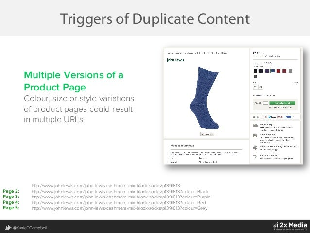 @KunleTCampbell Triggers of Duplicate Content Multiple Versions of a Product Page Colour, size or style variations of prod...