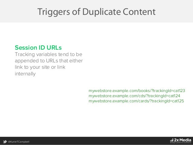 @KunleTCampbell Triggers of Duplicate Content Session ID URLs Tracking variables tend to be appended to URLs that either l...