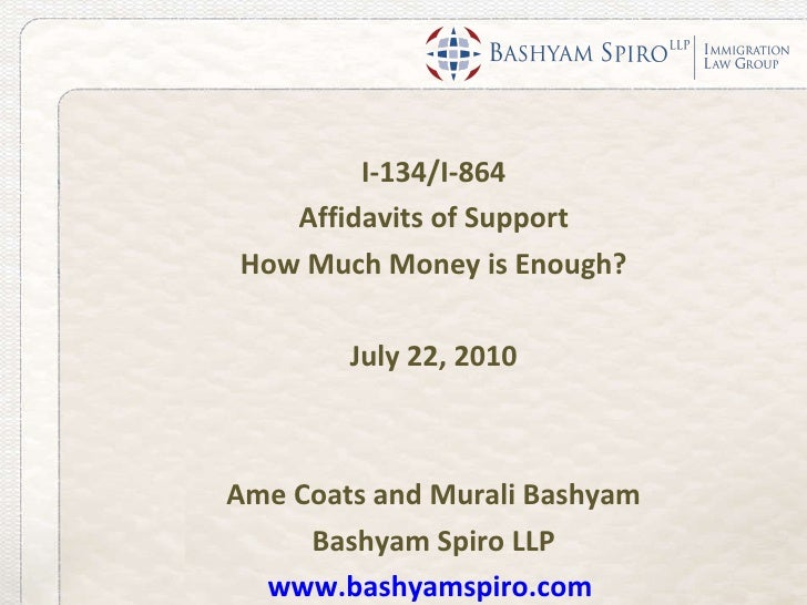 I-134/I-864 Affidavit of Support: How Much Money is Enough?