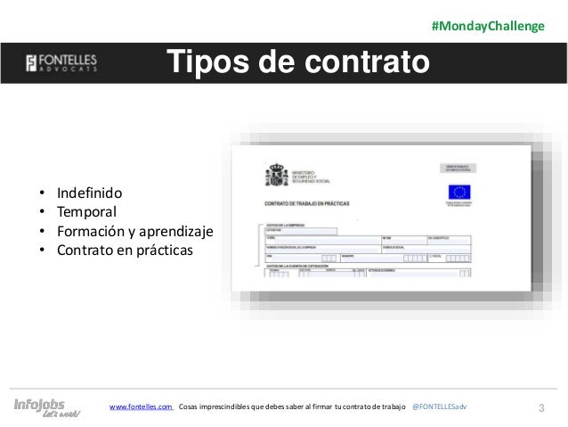 3 #MondayChallenge www.fontelles.com Cosas imprescindibles que debes saber al firmar tu contrato de trabajo @FONTELLESadv ...