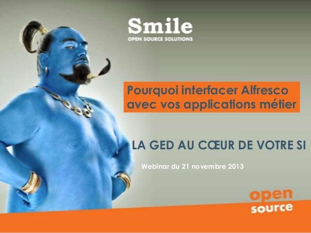 Pourquoi interfacer Alfresco avec vos applications métier LA GED AU CŒUR DE VOTRE SI Webinar du 21 novembre 2013