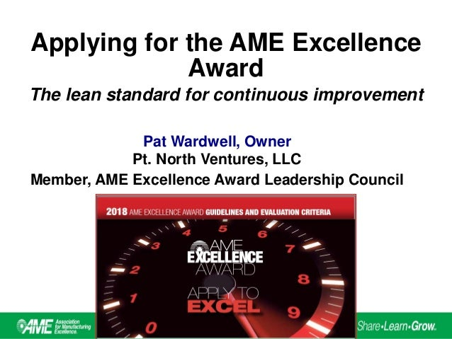 Applying For The AME Excellence Award