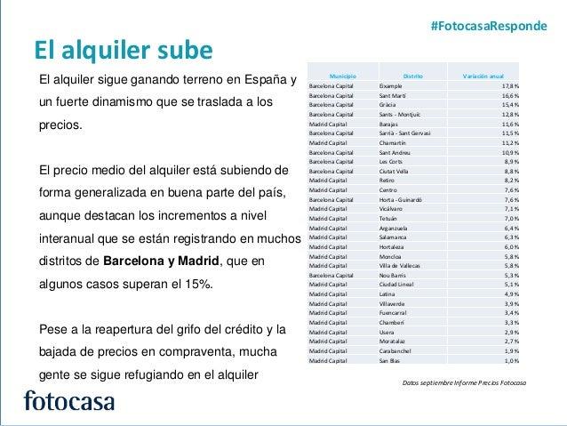 6 El alquiler sube #FotocasaResponde El alquiler sigue ganando terreno en España y un fuerte dinamismo que se traslada a l...