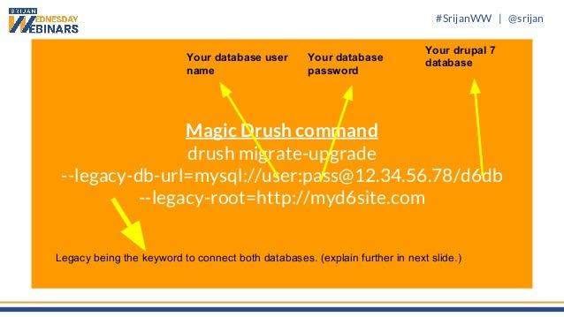 #SrijanWW   @srijan Magic Drush command drush migrate-upgrade --legacy-db-url=mysql://user:pass@12.34.56.78/d6db --legacy-...