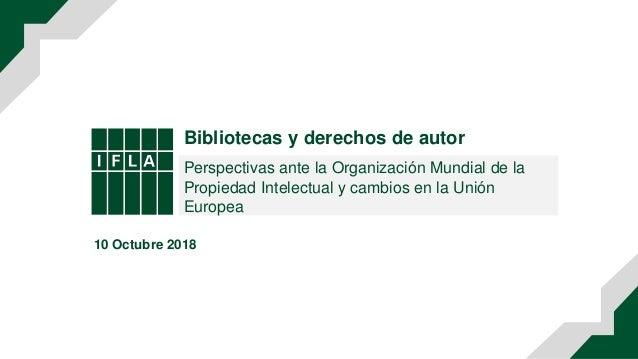 Bibliotecas y derechos de autor Perspectivas ante la Organización Mundial de la Propiedad Intelectual y cambios en la Unió...