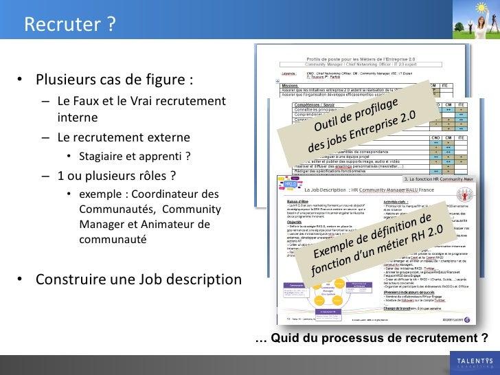 Recruter ?  • Plusieurs cas de figure :    – Le Faux et le Vrai recrutement      interne    – Le recrutement externe      ...
